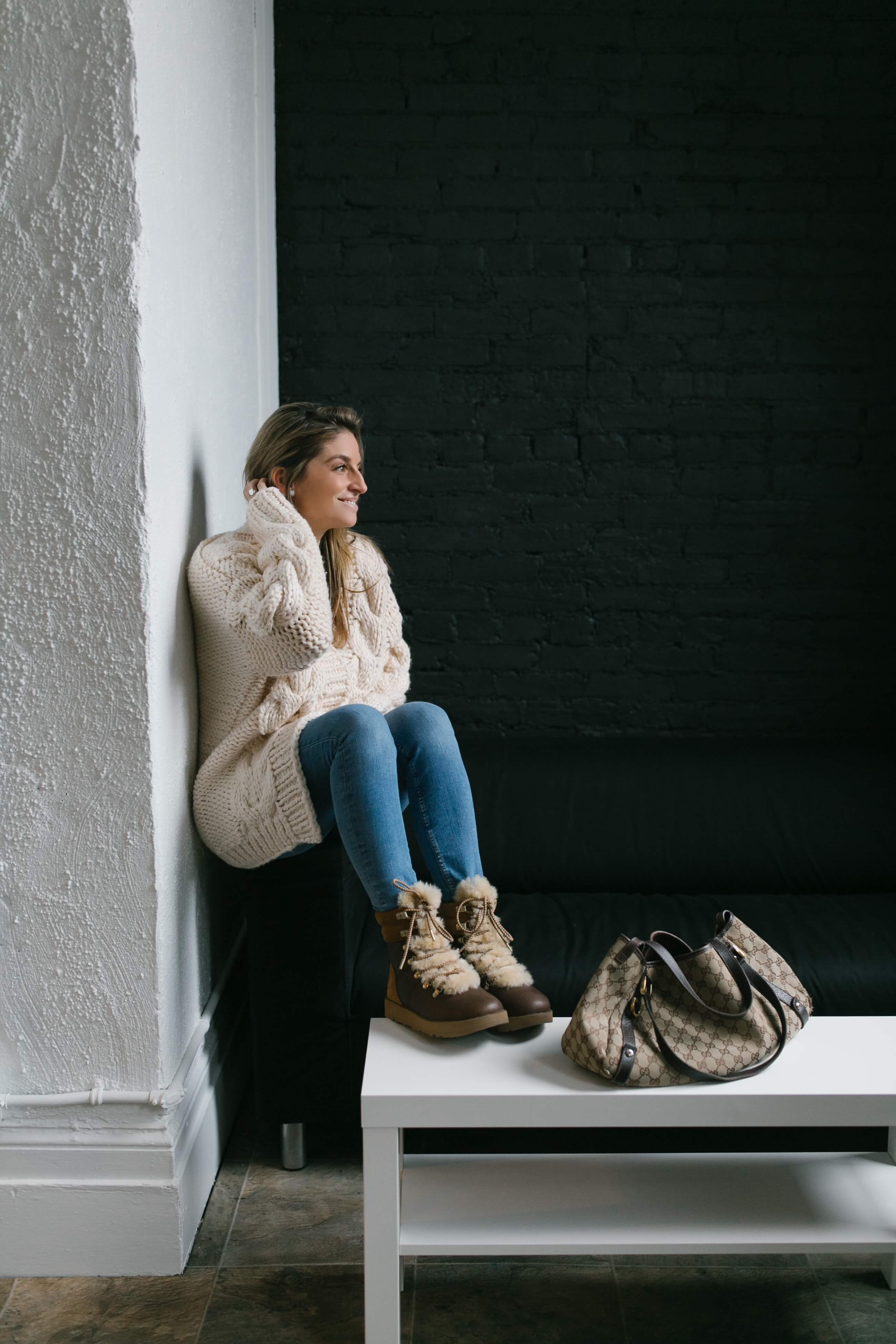Cozy cable knit sweater, fuzzy winter boots; winter look sparkleshinylove