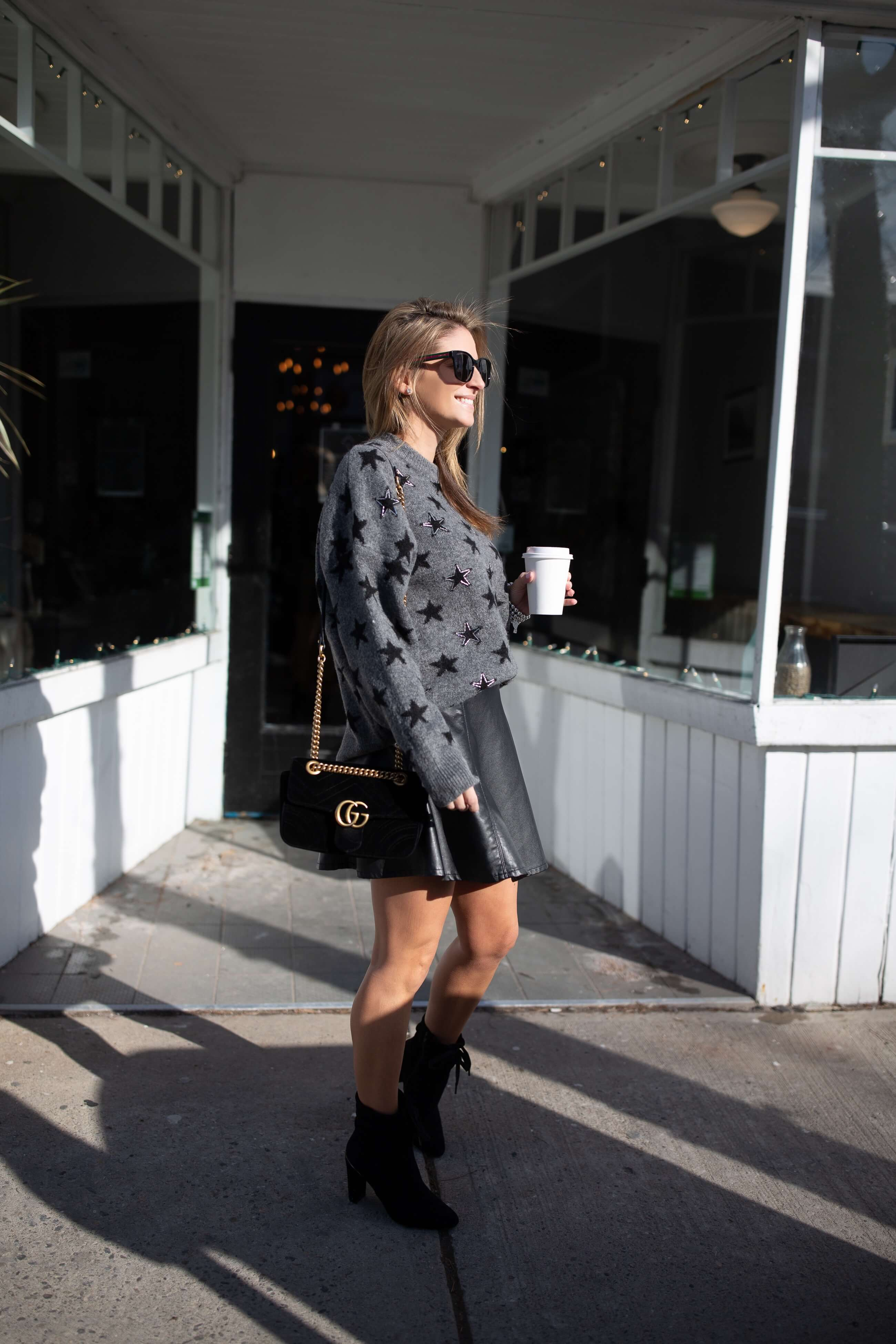 Grey Star sweater with leather skirt; winter style; mandy furnis sparkleshinylove