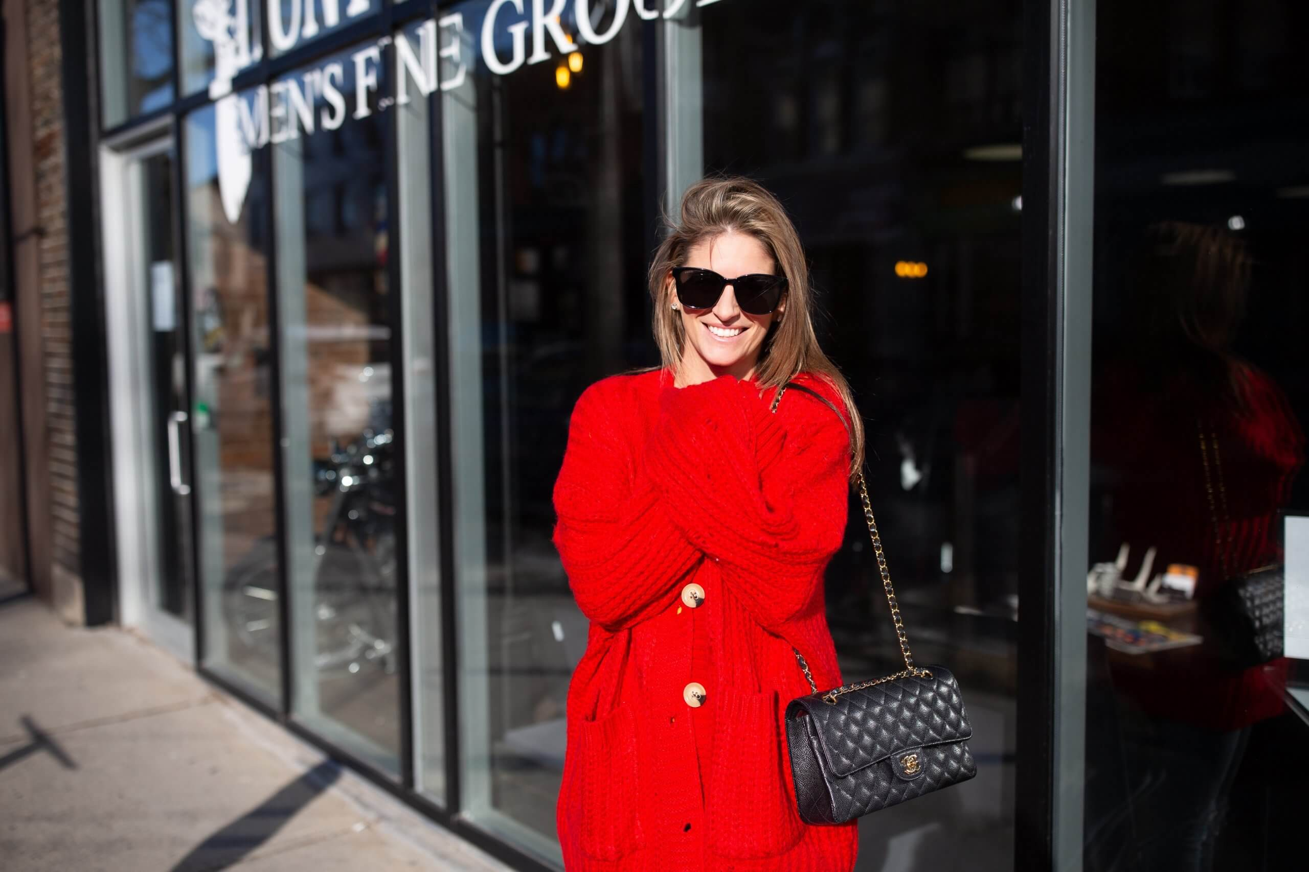 Red oversized cardigan from Chicwish; cozy cardigan winter look; mandy furnis sparkleshinylove