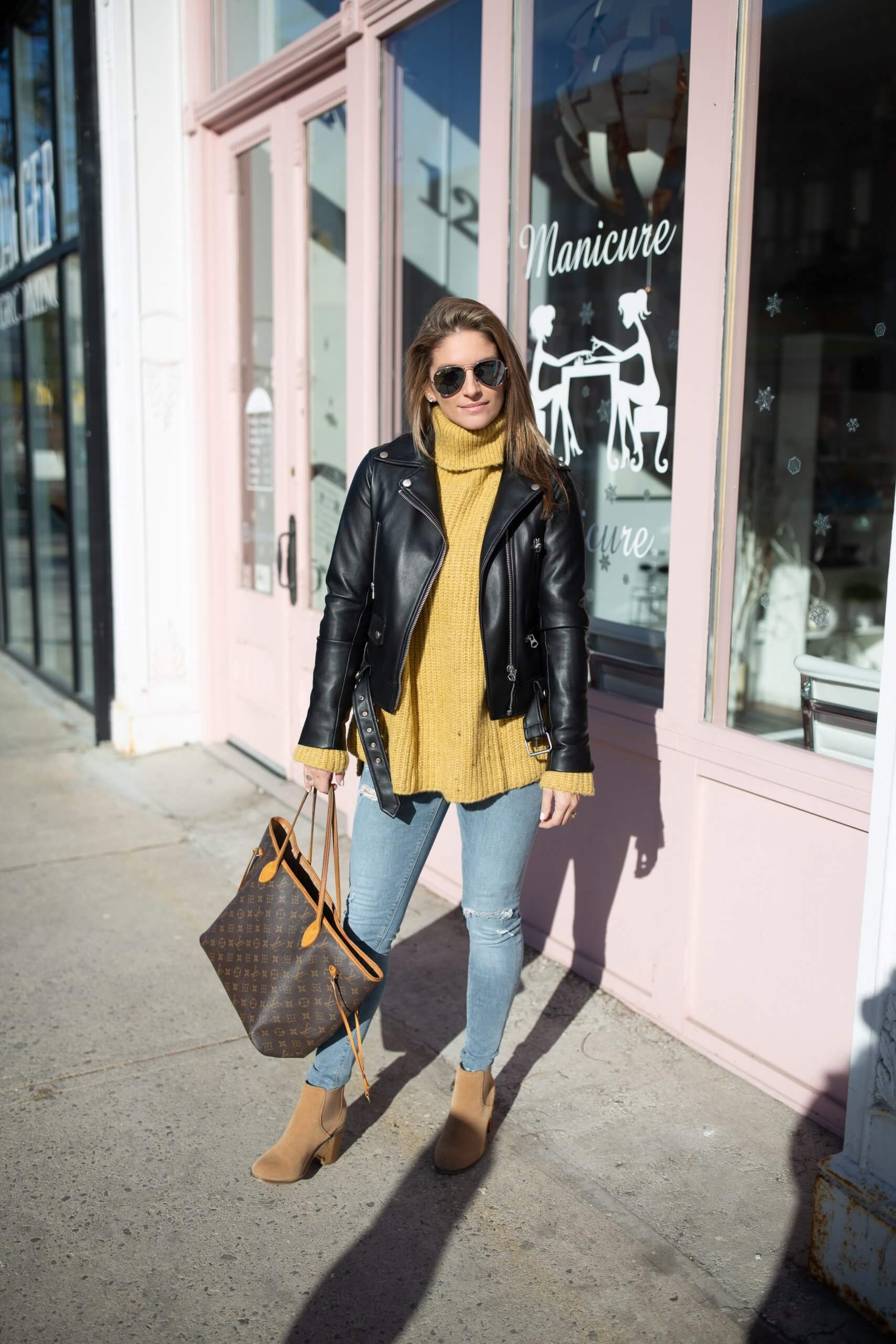 Winter mustard turtleneck, leather jacket, skinny jeans, ankle boots and Louis Vuitton Neverfull bag; weekend outfit; Mandy Furnis; sparkleshinylove