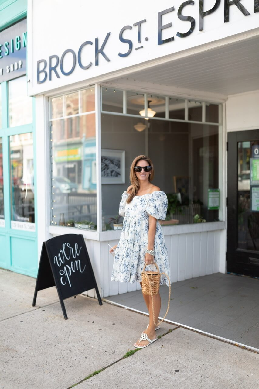 Floral off the shoulder dress from Chicwish; tory burch miller sandals; whitby blogger sparkleshinylove