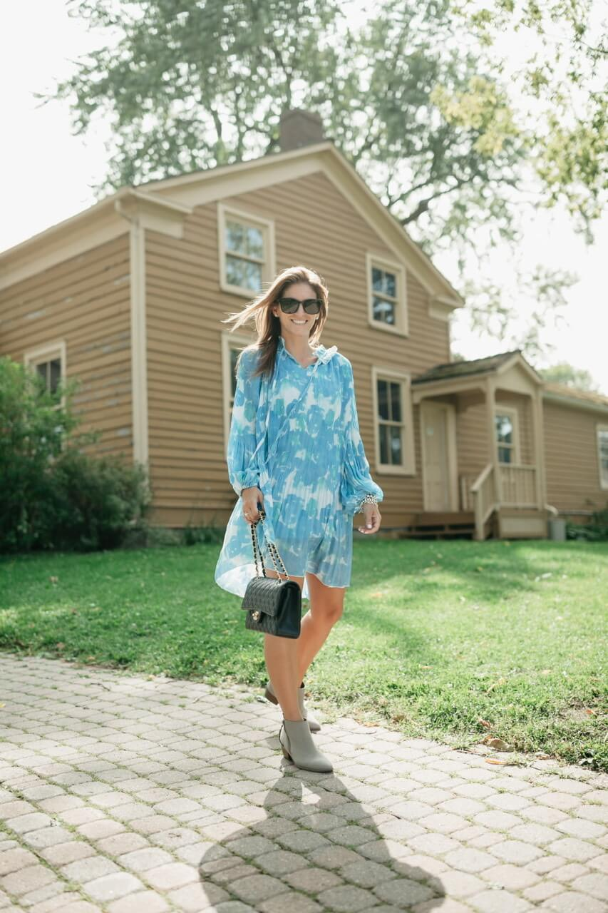 mandy furnis sparkleshinylove; chicwish PLEATED RUFFLE PUFF SLEEVES TIE-DYE DOLLY DRESS