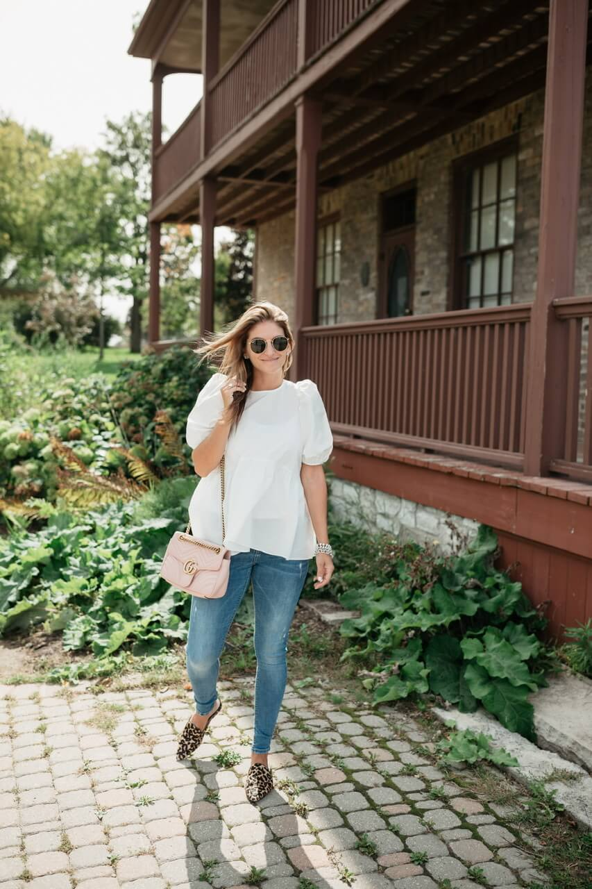Puff Sleeve Top from Aritzia; leopard loafers; pink gucci bag; mandy furnis sparkleshinylove
