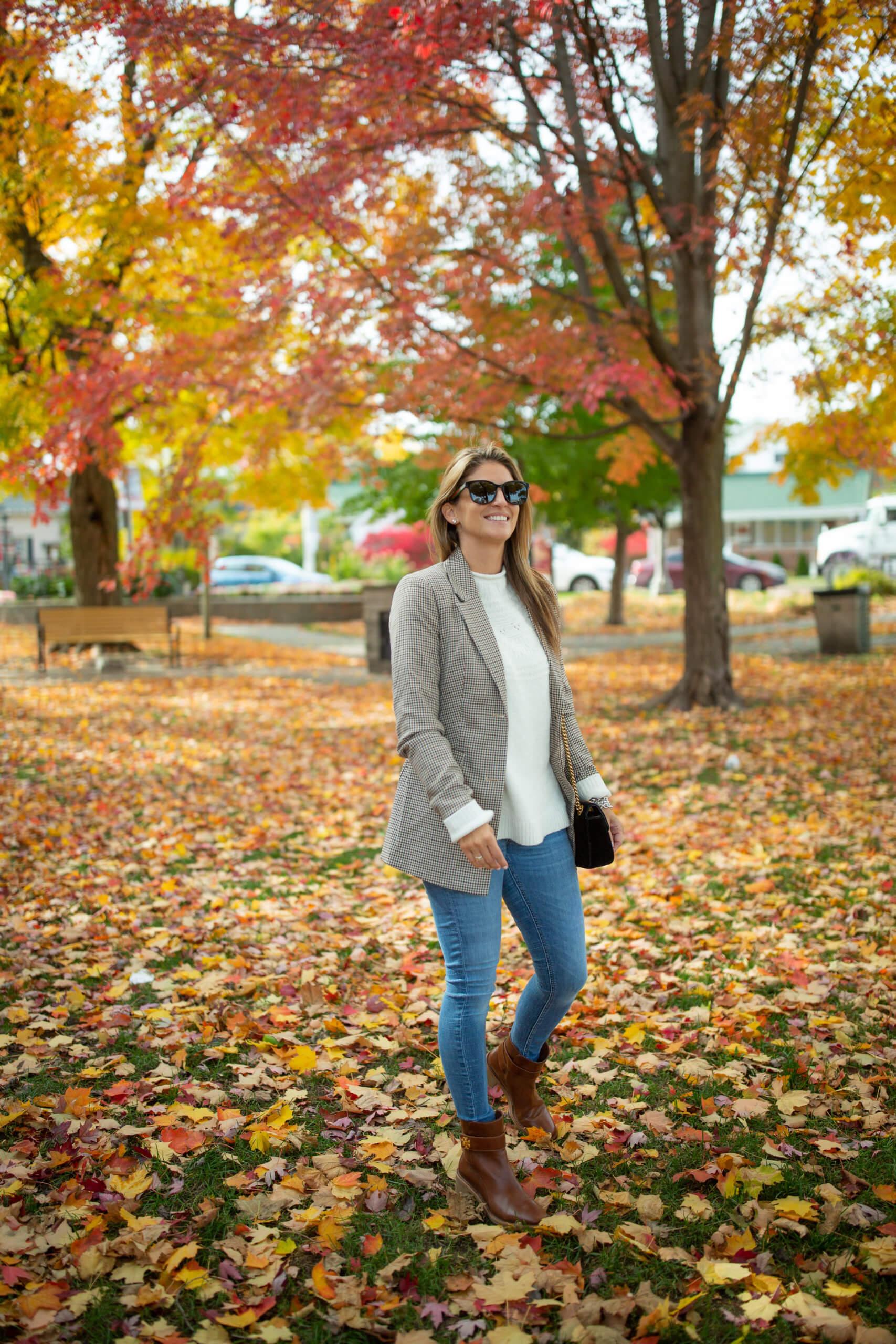 Fall riding jacket; Fall look; fall blazer; velvet Gucci Bag; mandy furnis sparkleshinylove