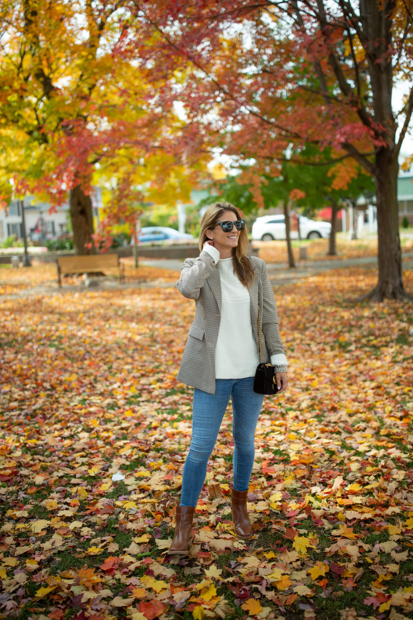 Fall riding jacket; Fall look; fall blazer; velvet Gucci Bag; mandy furnis sparkleshinylove