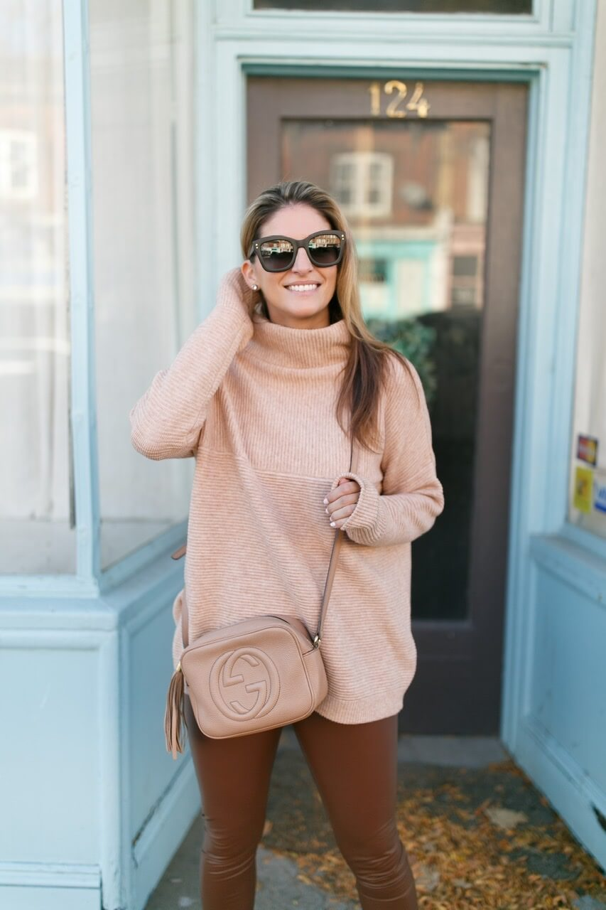 Brown Leather pants, beige turtleneck; gucci soho disco bag; fall style; whitby blogger; Joe Fresh Faux leather pants; mandy furnis sparkleshinylove