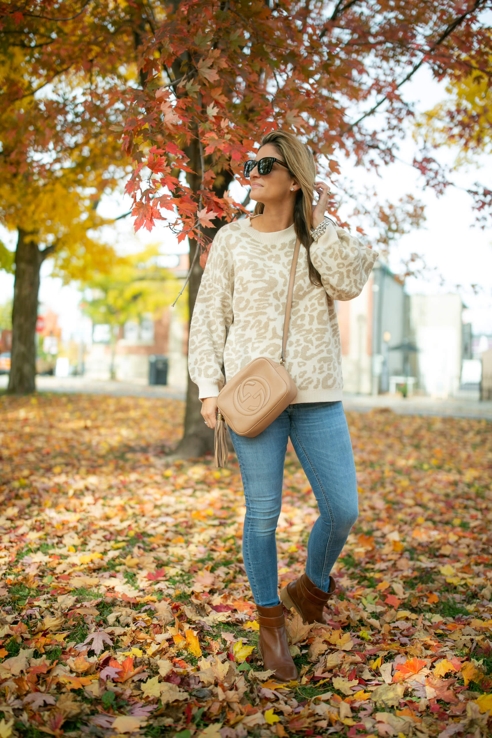 Chicwish leopard sweater; fall style; fall look; gucci soho disco bag; mandy furnis sparkleshinylove