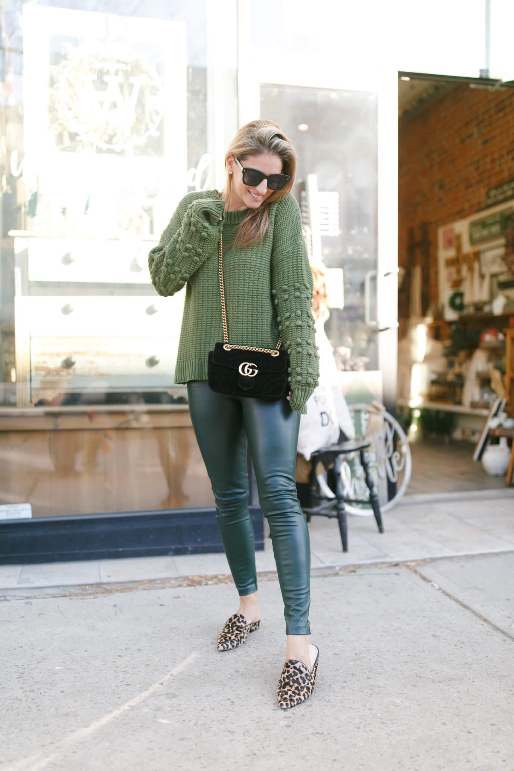 Green leggings, green sweater; winter style; green pom pom sweater; chicwish; durham region blogger mandy furnis