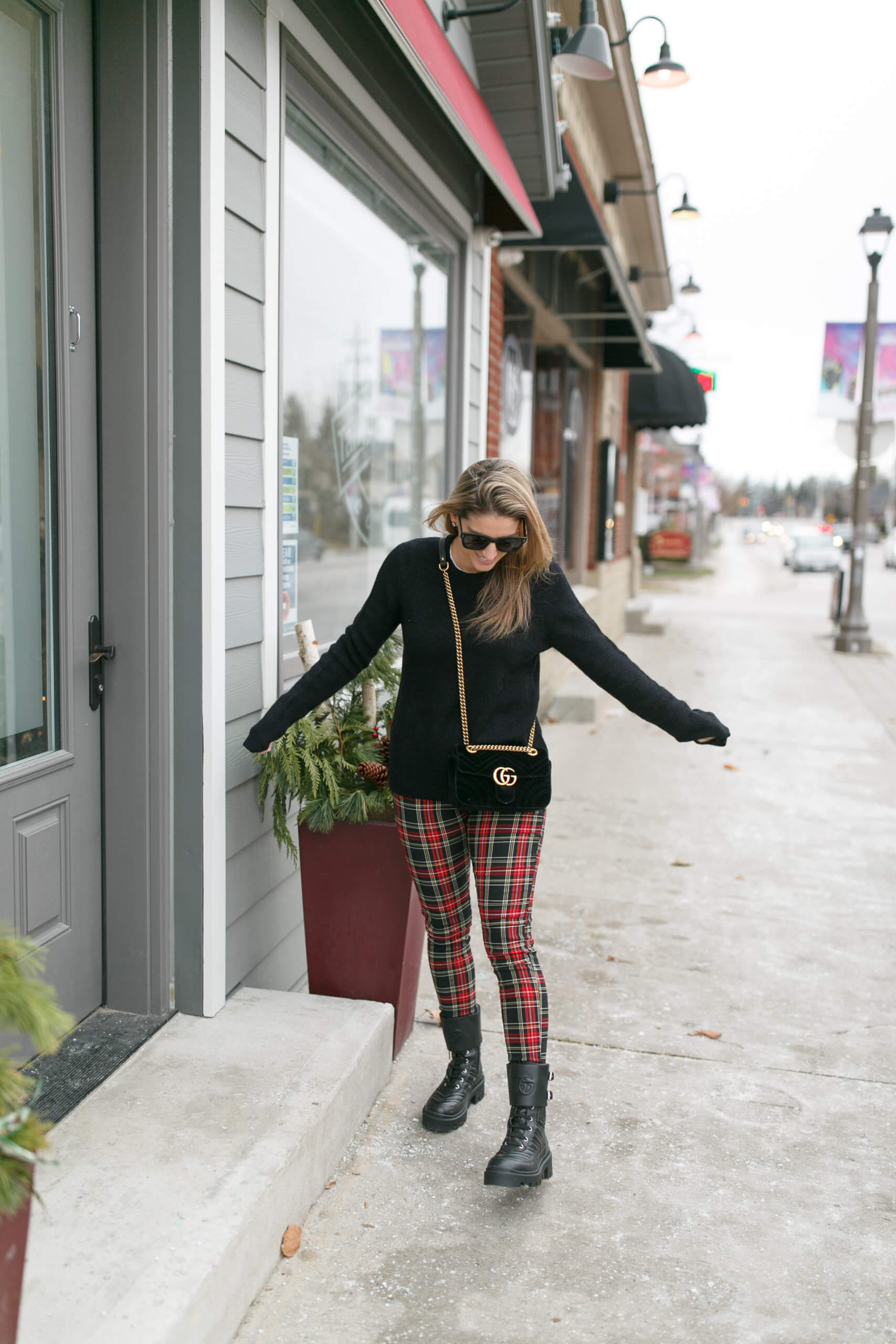 Christmas outfit; Christmas look; plaid pants; combat boots; mandy furnis sparkleshinylove