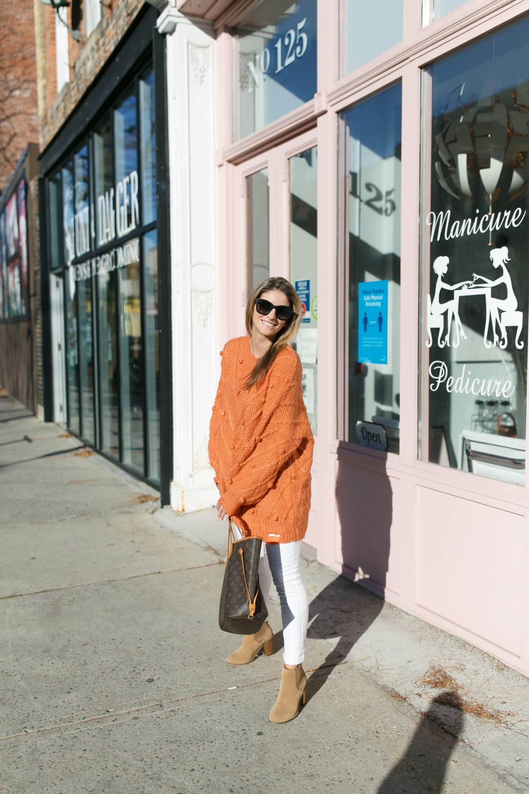 Winter style; chicwish pom pom sweater; rust colour sweater; mandy furnis sparkleshinylove