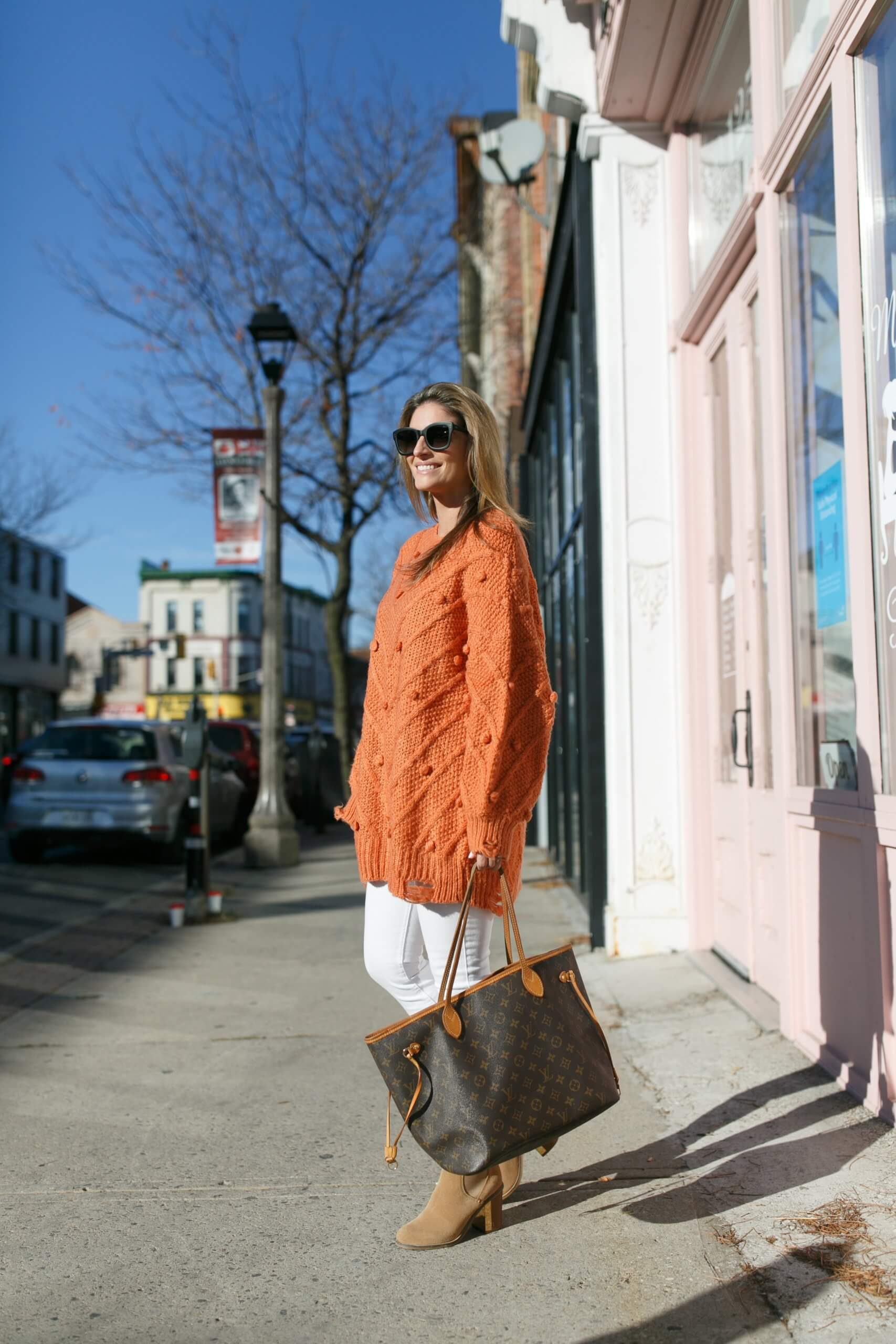 Winter style; chicwish pom pom sweater; rust colour sweater; mandy furnis sparkleshinylove