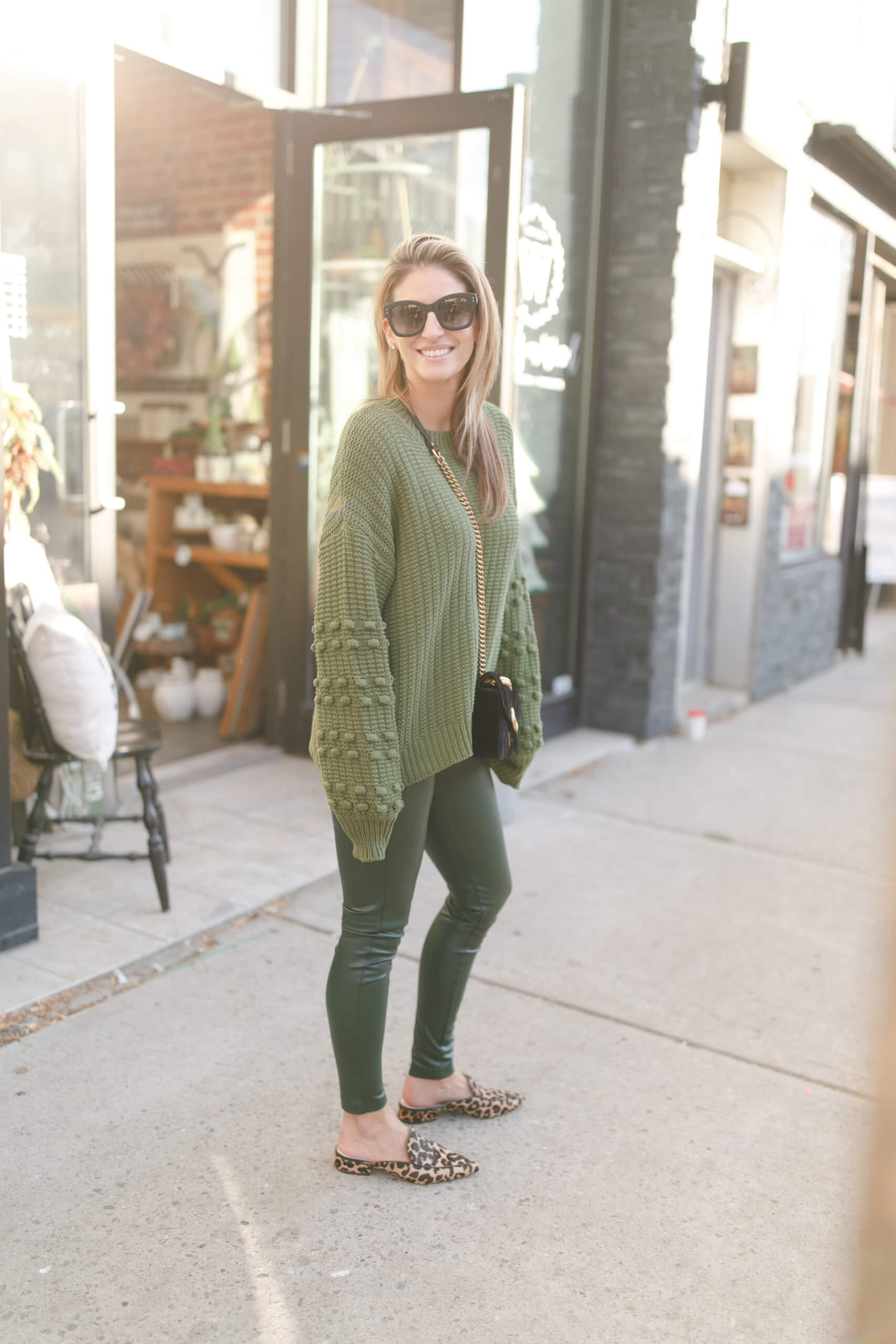 Green leggings, green sweater; winter style; green pom pom sweater; chicwish; durham region blogger mandy furnis