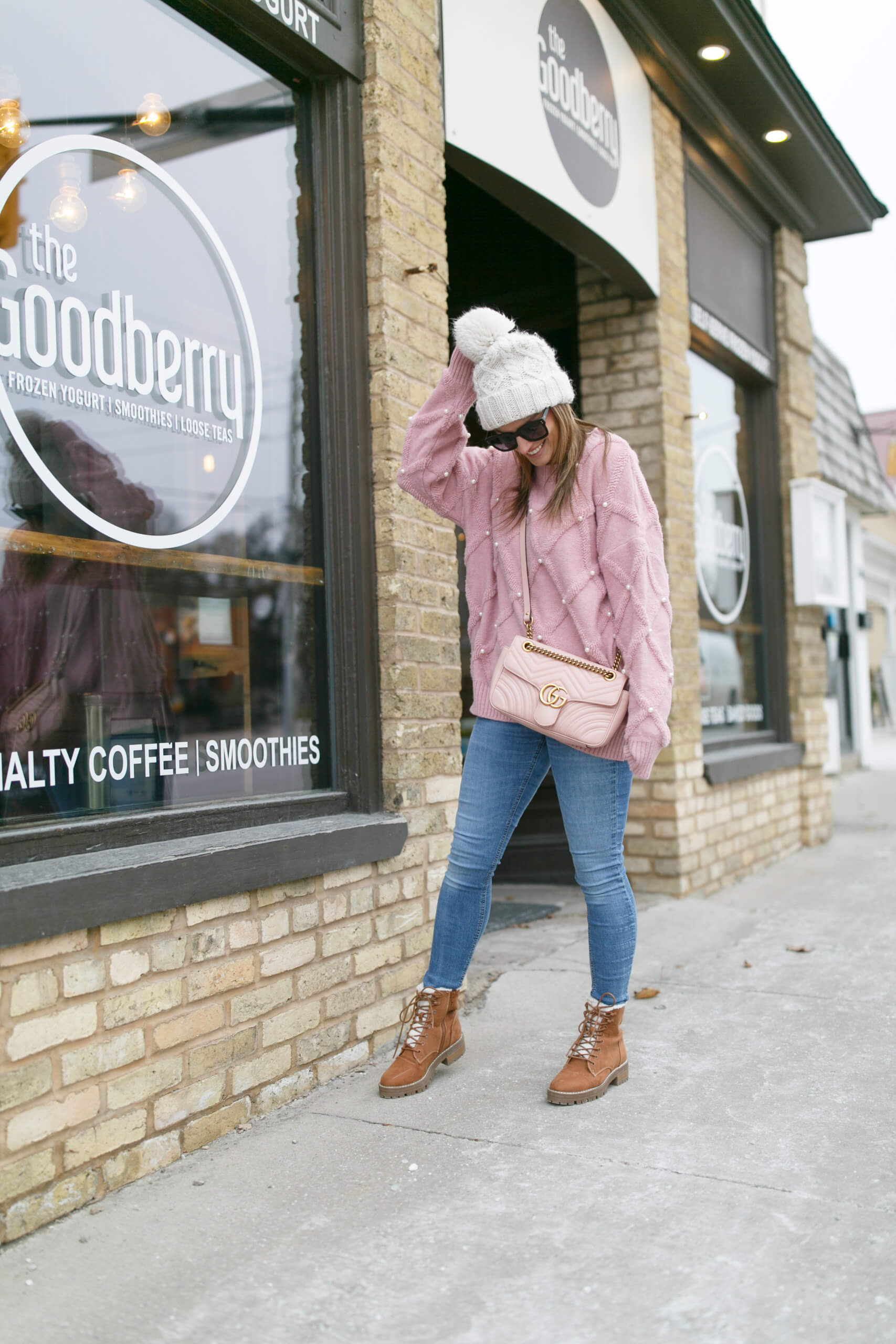 pink and pearl sweater chicwish; winter style; winter ootd; sparkleshinylove mandy furnis durham region blogger