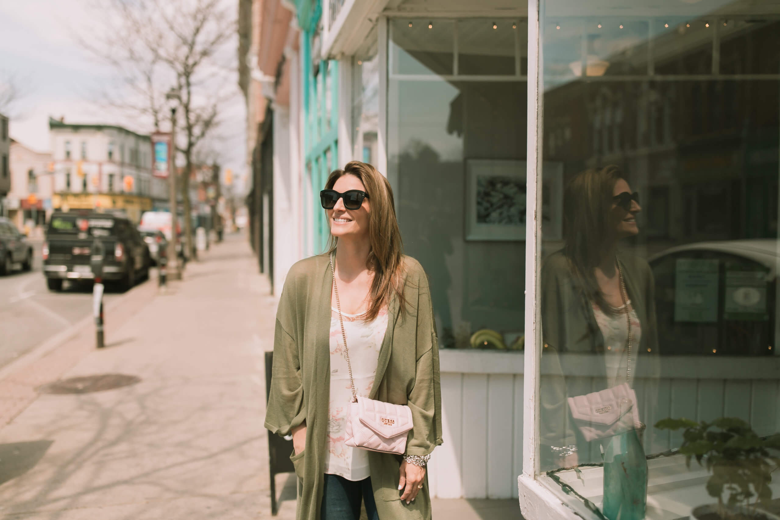Spring outfit from Turquoise Boutique; downtown whitby shopping