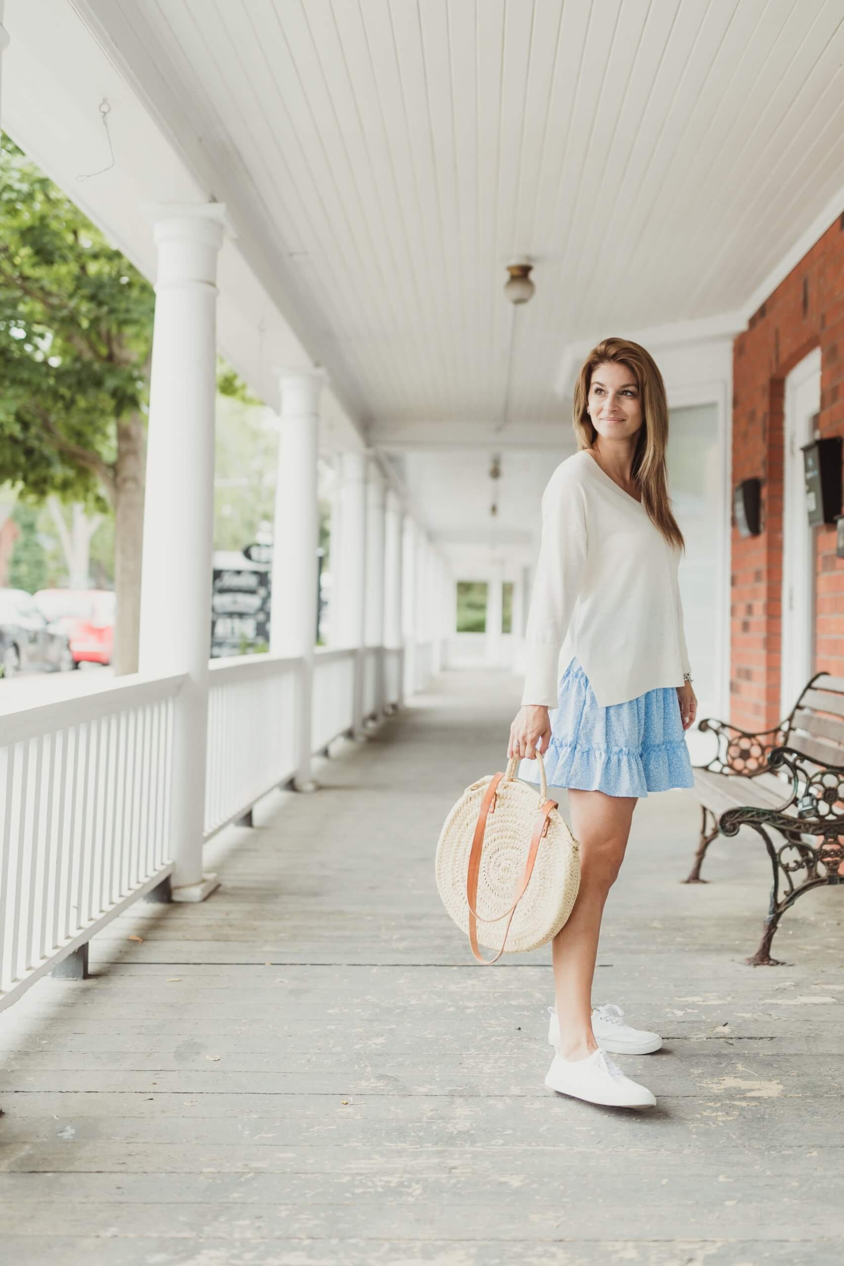 Part Two White Sweater; Summer sweater and skirt; Mandy Furnis sparkleshinylove